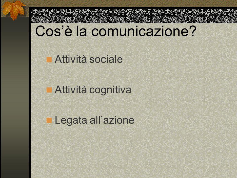 Cosè la comunicazione Attività sociale Attività cognitiva Legata allazione