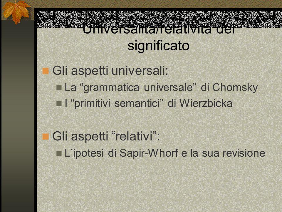 Universalità/relatività del significato Gli aspetti universali: La grammatica universale di Chomsky I primitivi semantici di Wierzbicka Gli aspetti relativi: Lipotesi di Sapir-Whorf e la sua revisione