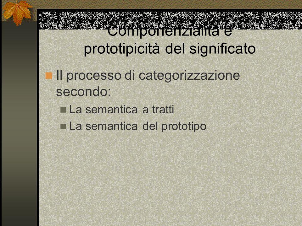 Componenzialità e prototipicità del significato Il processo di categorizzazione secondo: La semantica a tratti La semantica del prototipo