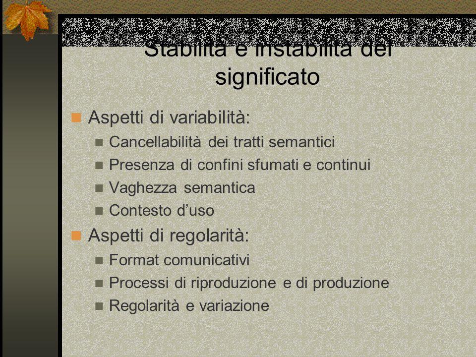 Stabilità e instabilità del significato Aspetti di variabilità: Cancellabilità dei tratti semantici Presenza di confini sfumati e continui Vaghezza semantica Contesto duso Aspetti di regolarità: Format comunicativi Processi di riproduzione e di produzione Regolarità e variazione
