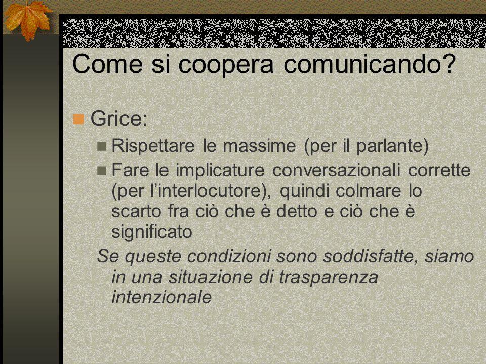 Come si coopera comunicando.