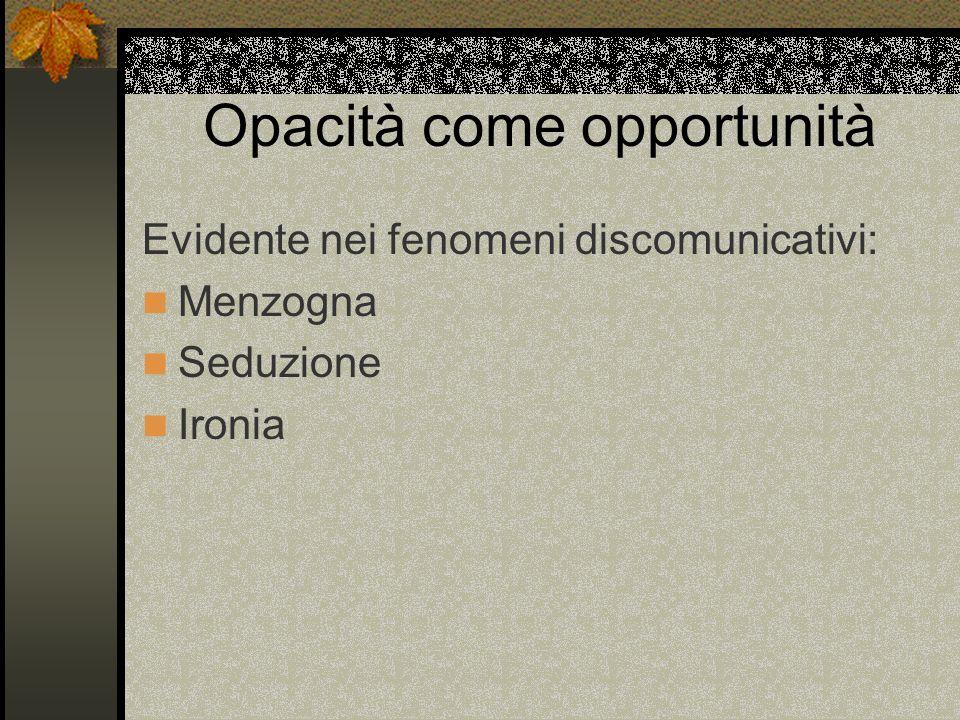 Opacità come opportunità Evidente nei fenomeni discomunicativi: Menzogna Seduzione Ironia