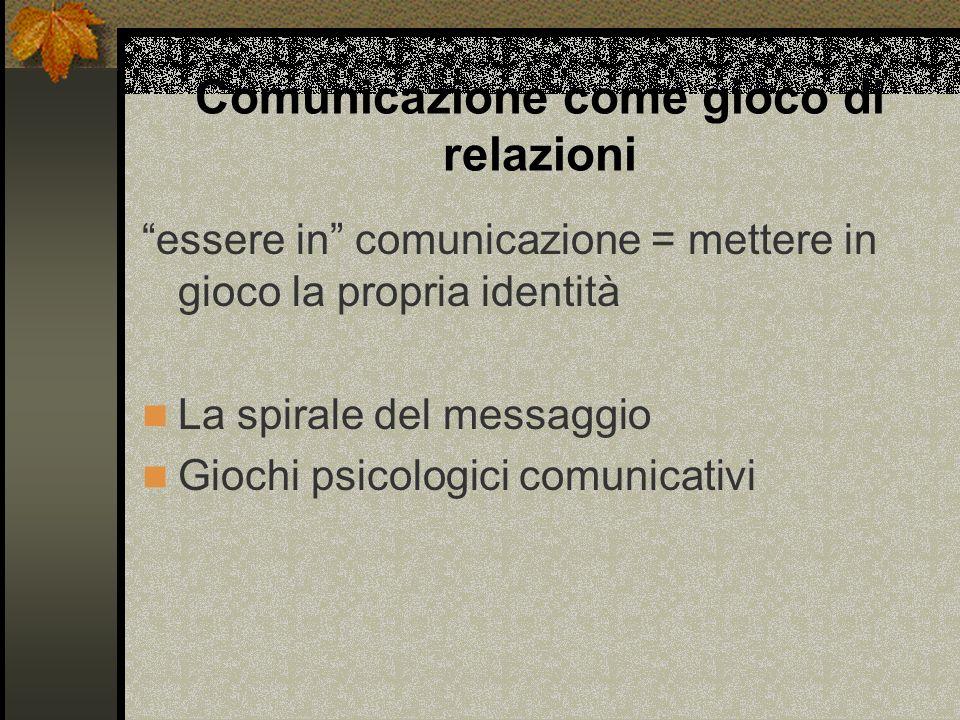 Comunicazione come gioco di relazioni essere in comunicazione = mettere in gioco la propria identità La spirale del messaggio Giochi psicologici comunicativi