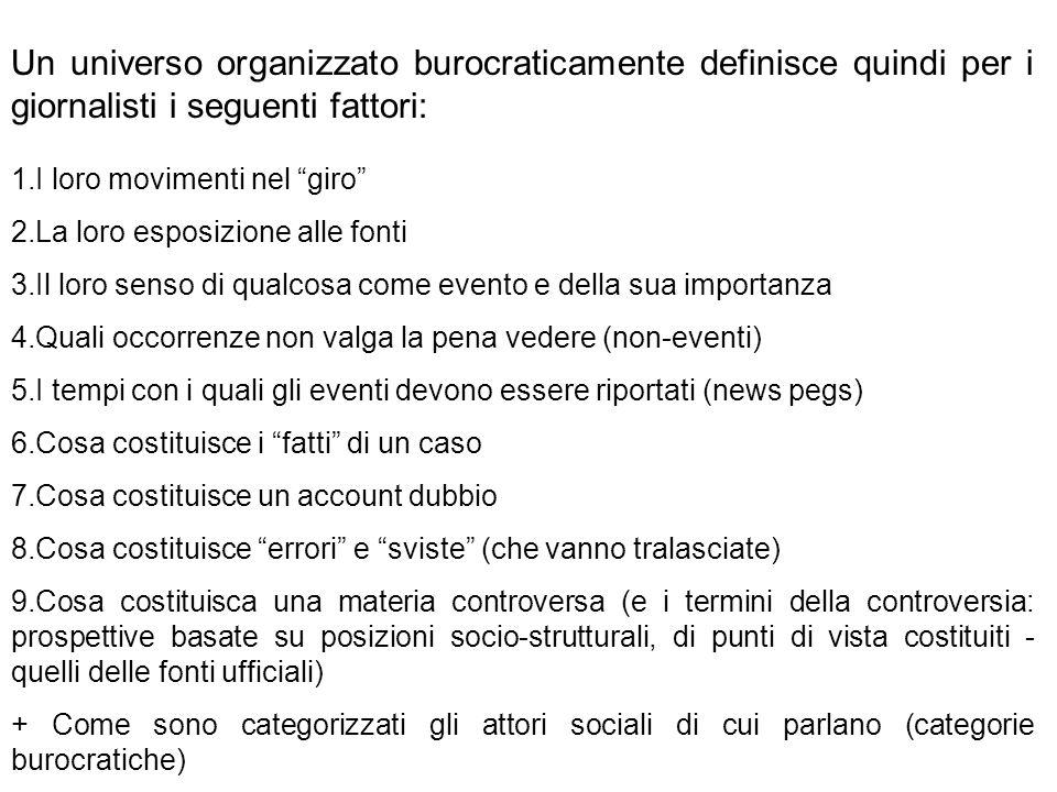 Un universo organizzato burocraticamente definisce quindi per i giornalisti i seguenti fattori: 1.I loro movimenti nel giro 2.La loro esposizione alle