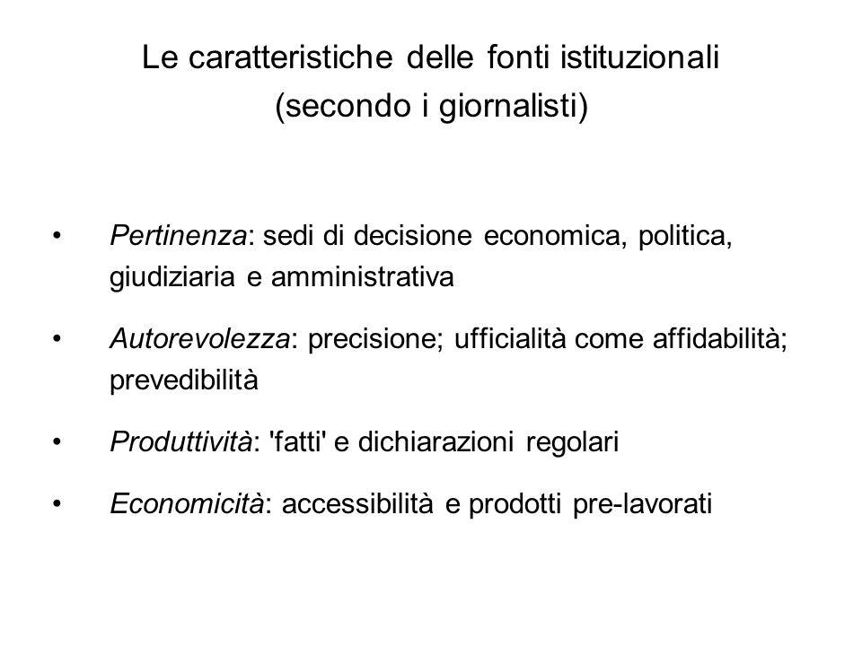 Le caratteristiche delle fonti istituzionali (secondo i giornalisti) Pertinenza: sedi di decisione economica, politica, giudiziaria e amministrativa A