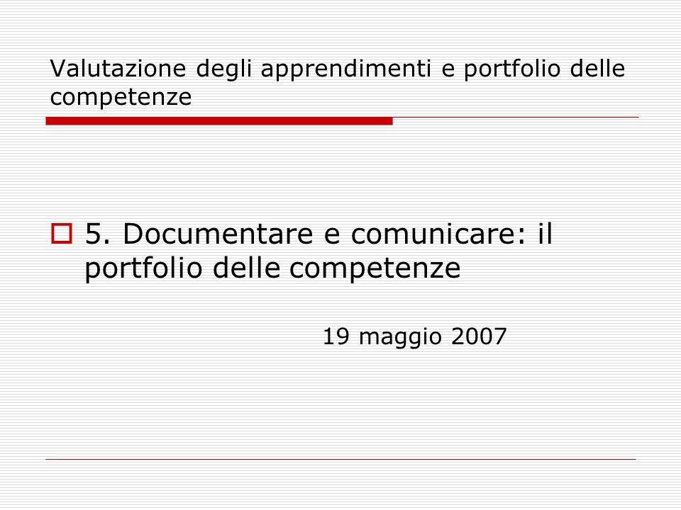 Valutazione degli apprendimenti e portfolio delle competenze Bibliografia Dalla valutazione dell allievo all autovalutazione, di E.