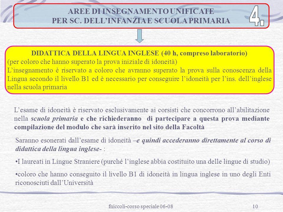 fniccoli-corso speciale 06-0810 AREE DI INSEGNAMENTO UNIFICATE PER SC.