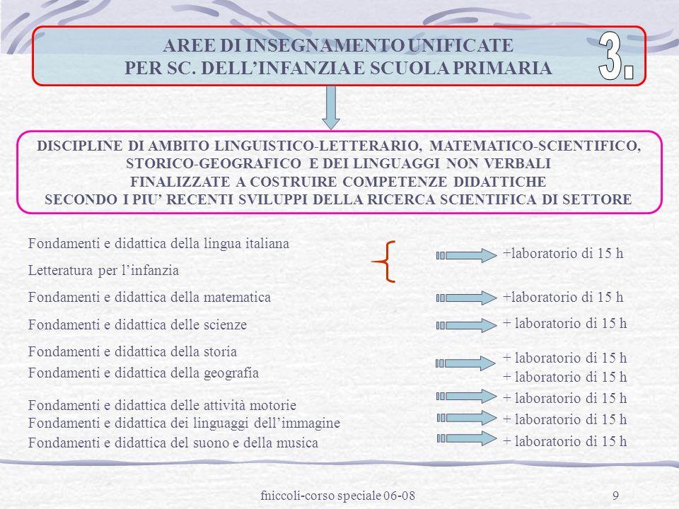 fniccoli-corso speciale 06-089 AREE DI INSEGNAMENTO UNIFICATE PER SC.