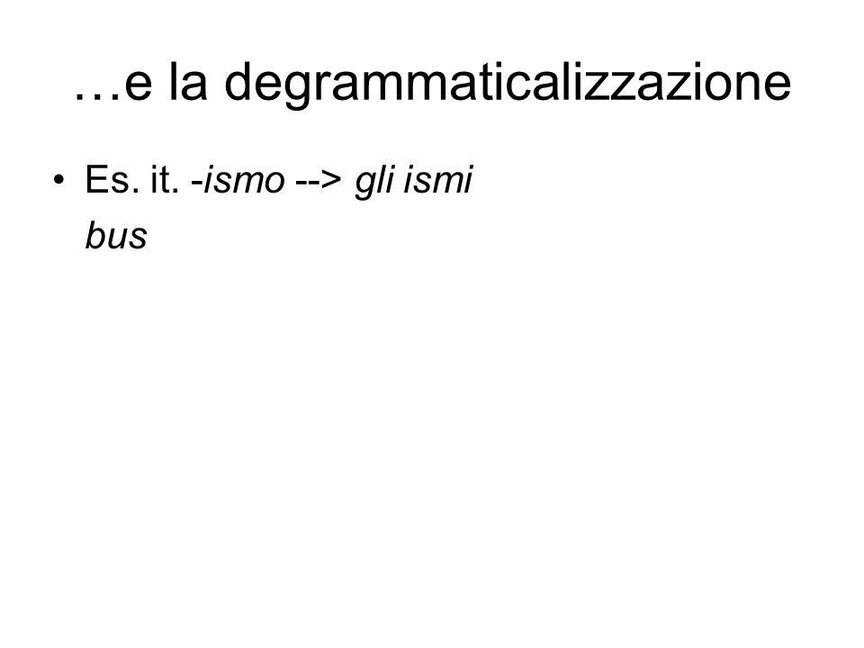 …e la degrammaticalizzazione Es. it. -ismo --> gli ismi bus