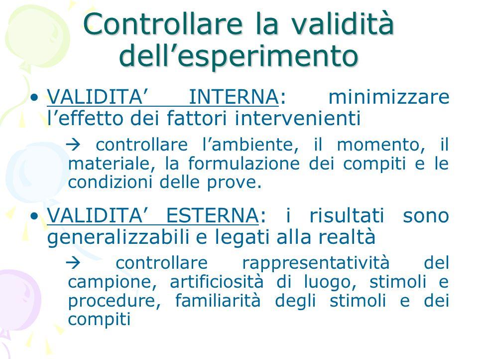 Controllare la validità dellesperimento VALIDITA INTERNA: minimizzare leffetto dei fattori intervenienti controllare lambiente, il momento, il materia
