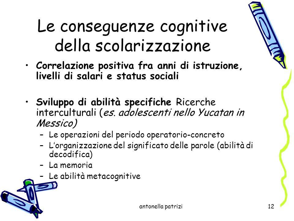 antonella patrizi12 Le conseguenze cognitive della scolarizzazione Correlazione positiva fra anni di istruzione, livelli di salari e status sociali Sv