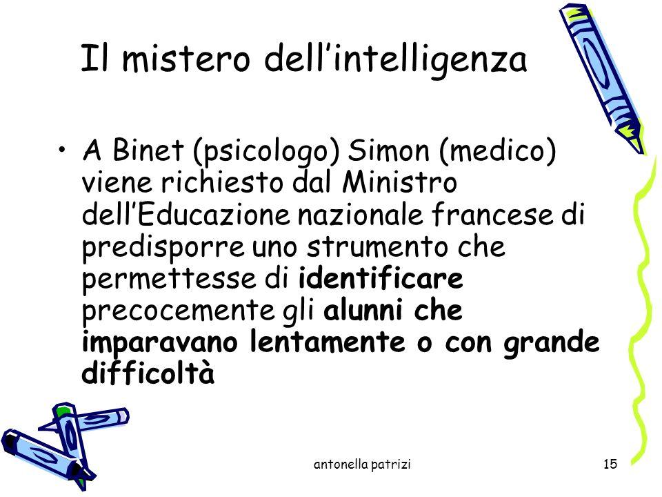 antonella patrizi15 Il mistero dellintelligenza A Binet (psicologo) Simon (medico) viene richiesto dal Ministro dellEducazione nazionale francese di p