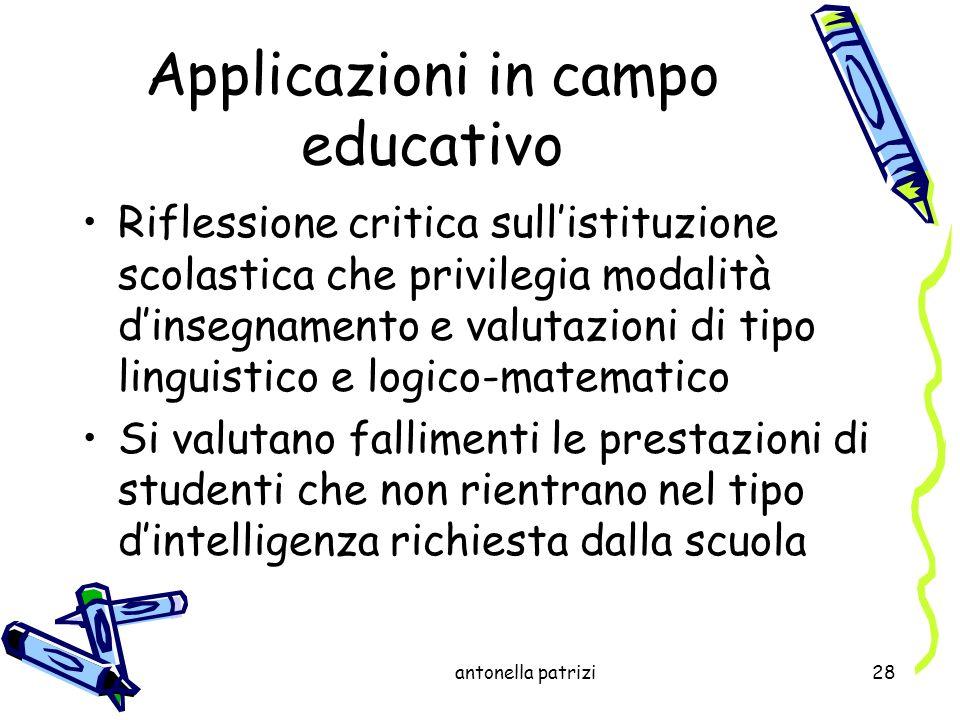 antonella patrizi28 Applicazioni in campo educativo Riflessione critica sullistituzione scolastica che privilegia modalità dinsegnamento e valutazioni