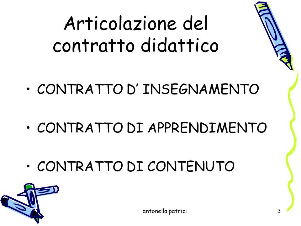 antonella patrizi3 Articolazione del contratto didattico CONTRATTO D INSEGNAMENTO CONTRATTO DI APPRENDIMENTO CONTRATTO DI CONTENUTO