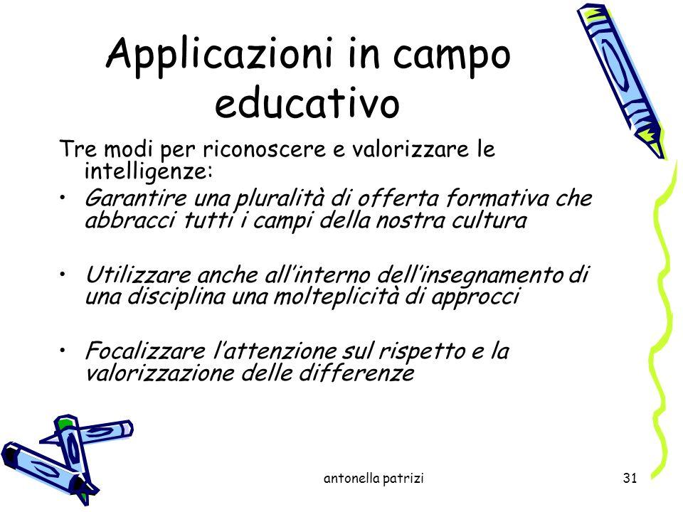antonella patrizi31 Applicazioni in campo educativo Tre modi per riconoscere e valorizzare le intelligenze: Garantire una pluralità di offerta formati