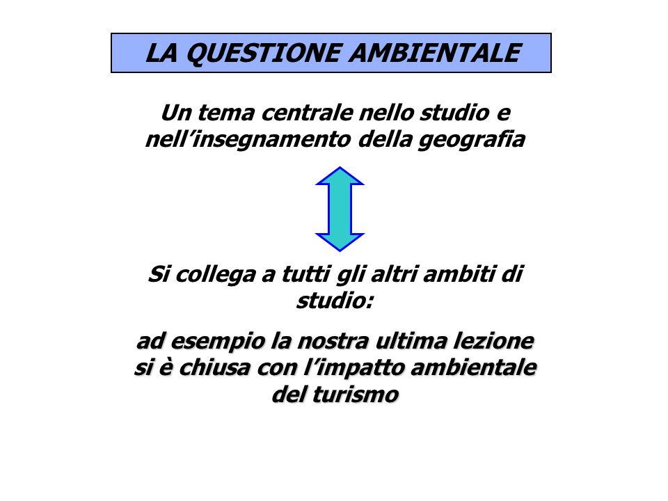 LA QUESTIONE AMBIENTALE Un tema centrale nello studio e nellinsegnamento della geografia Si collega a tutti gli altri ambiti di studio: ad esempio la