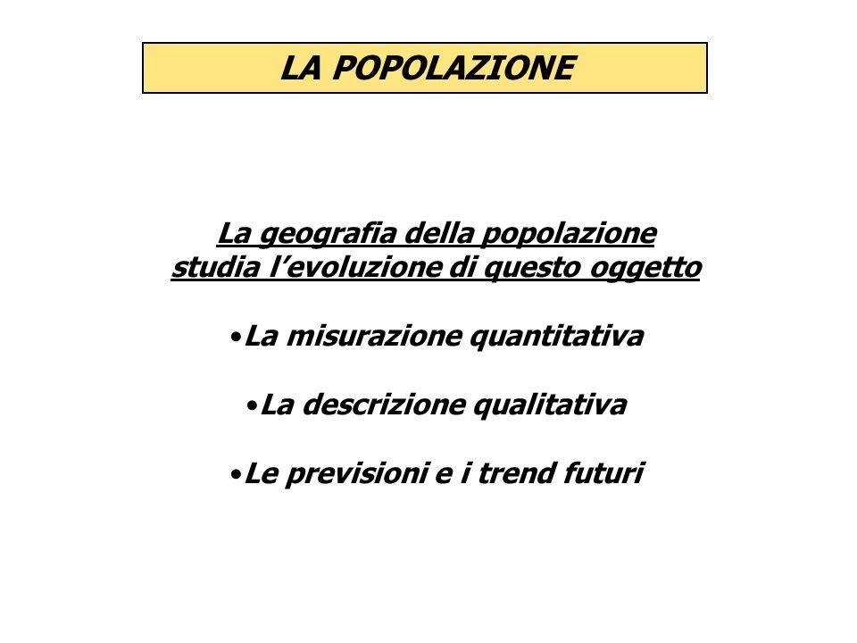 LA POPOLAZIONE La geografia della popolazione studia levoluzione di questo oggetto La misurazione quantitativa La descrizione qualitativa Le prevision