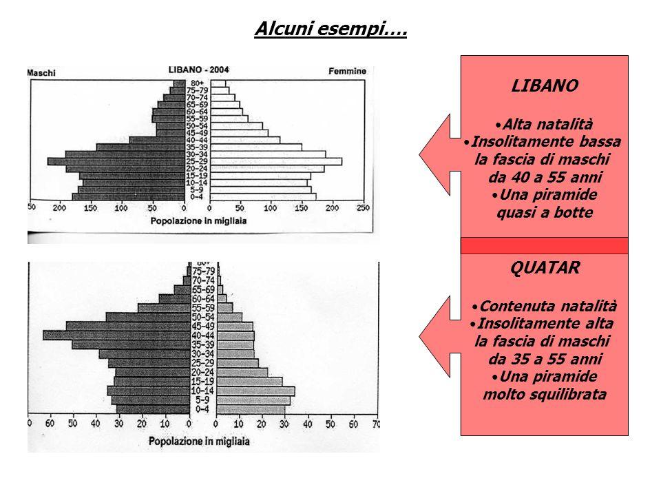 Alcuni esempi…. LIBANO Alta natalità Insolitamente bassa la fascia di maschi da 40 a 55 anni Una piramide quasi a botte QUATAR Contenuta natalità Inso
