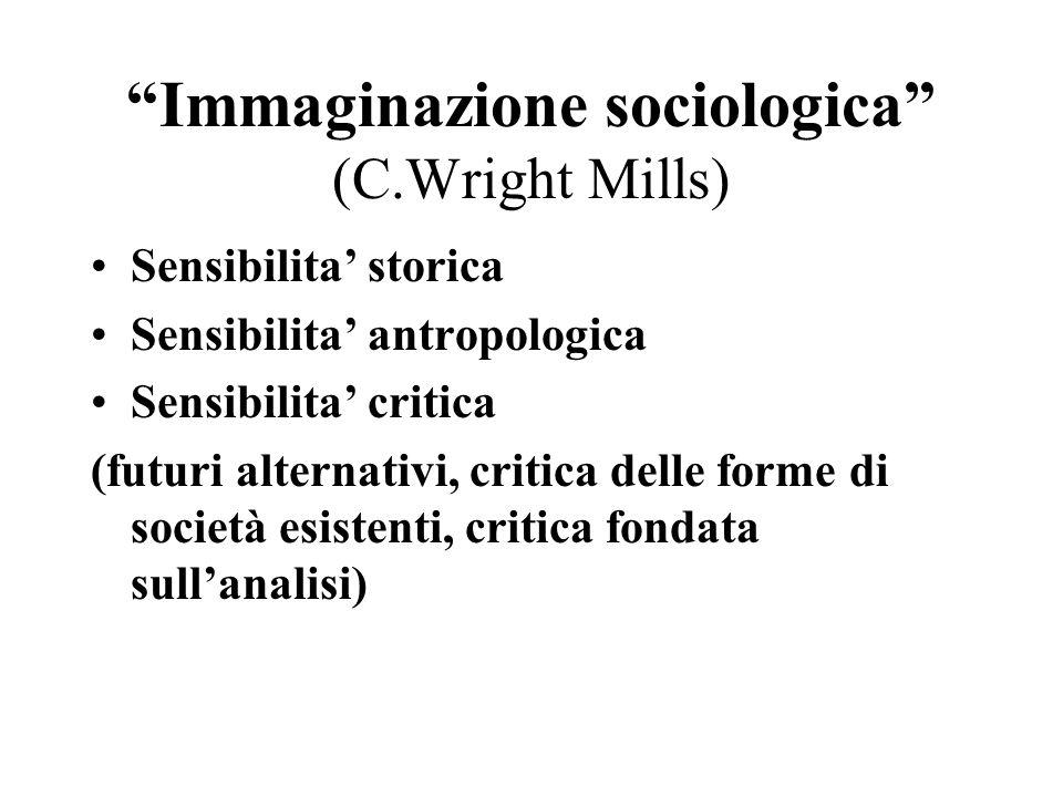 Immaginazione sociologica (C.Wright Mills) Sensibilita storica Sensibilita antropologica Sensibilita critica (futuri alternativi, critica delle forme di società esistenti, critica fondata sullanalisi)
