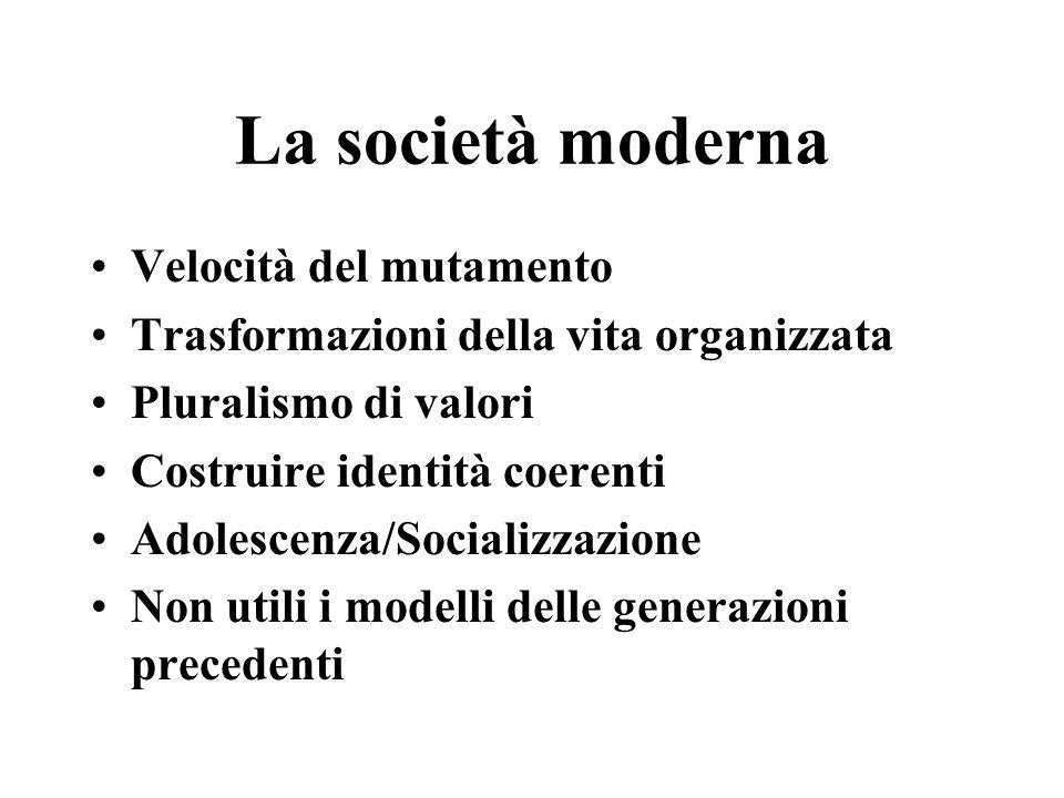 La società moderna Velocità del mutamento Trasformazioni della vita organizzata Pluralismo di valori Costruire identità coerenti Adolescenza/Socializzazione Non utili i modelli delle generazioni precedenti