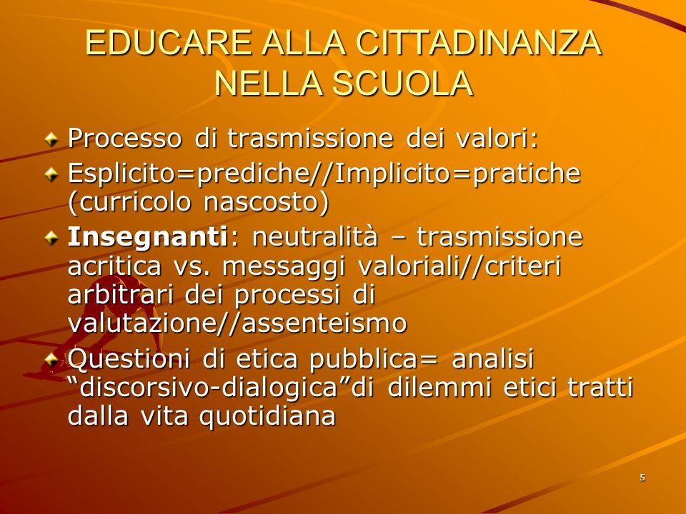 5 EDUCARE ALLA CITTADINANZA NELLA SCUOLA Processo di trasmissione dei valori: Esplicito=prediche//Implicito=pratiche (curricolo nascosto) Insegnanti: