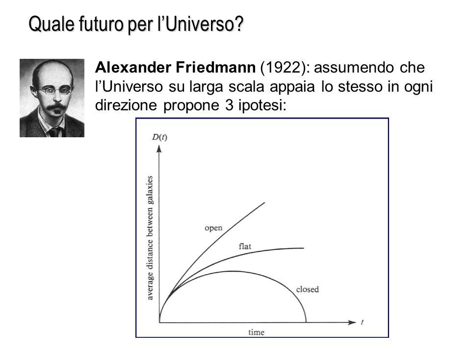 Quale futuro per lUniverso? Alexander Friedmann (1922): assumendo che lUniverso su larga scala appaia lo stesso in ogni direzione propone 3 ipotesi: