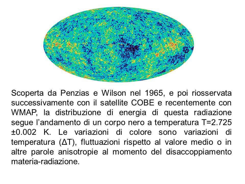Scoperta da Penzias e Wilson nel 1965, e poi riosservata successivamente con il satellite COBE e recentemente con WMAP, la distribuzione di energia di