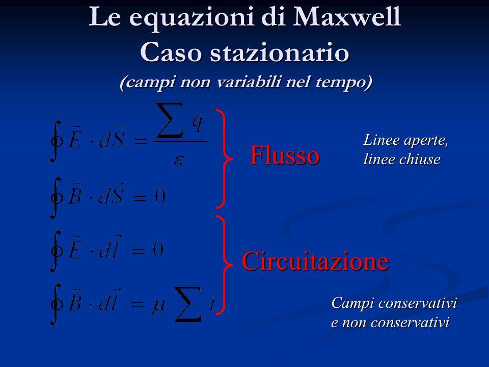 Le equazioni di Maxwell Caso stazionario (campi non variabili nel tempo) Flusso Circuitazione Linee aperte, linee chiuse Campi conservativi e non conservativi