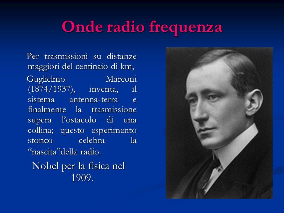 Onde a radio frequenza: onde TV e radar Nelle trasmissioni televisive troviamo onde con frequenze intorno a 10 8 hertz e lunghezze dellordine del metr