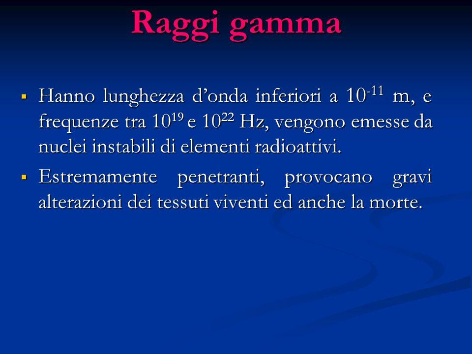 Raggi X Lunghezza donda compresa fra 10 -9 e 10 -11 m, e frequenze tra 10 17 e 10 19 Hz, vengono prodotte quando un elettrone viene inviato a elevata