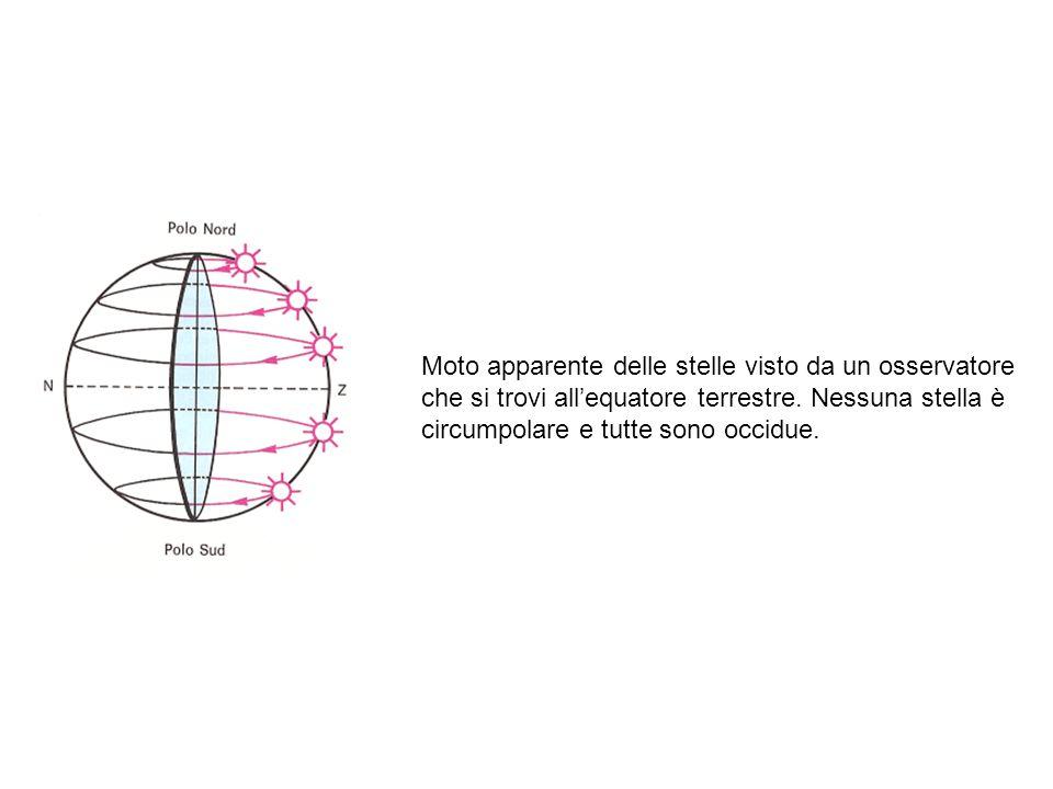 Moto apparente delle stelle visto da un osservatore che si trovi allequatore terrestre. Nessuna stella è circumpolare e tutte sono occidue.
