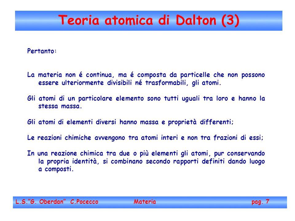 Teoria atomica di Dalton (3) L.S.G.Oberdan C.Pocecco Materia pag.