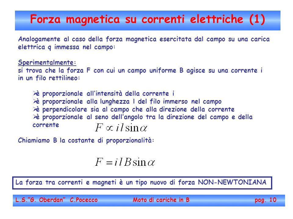 Forza magnetica su correnti elettriche (1) L.S.G. Oberdan C.Pocecco Moto di cariche in B pag. 10 Analogamente al caso della forza magnetica esercitata