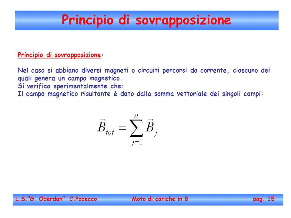 Principio di sovrapposizione L.S.G. Oberdan C.Pocecco Moto di cariche in B pag. 15 Principio di sovrapposizione: Nel caso si abbiano diversi magneti o