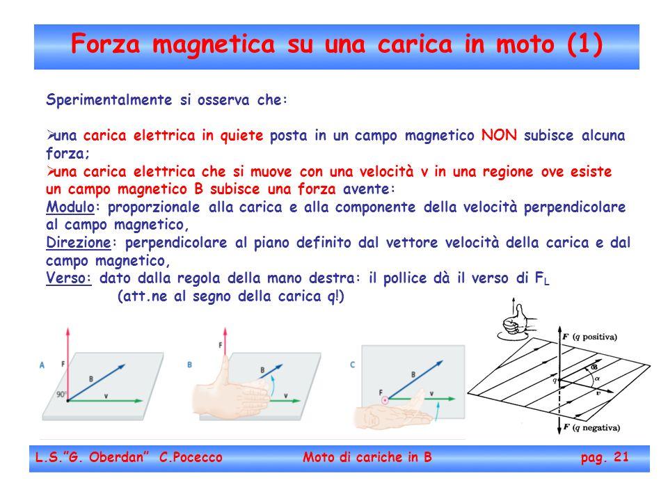 Forza magnetica su una carica in moto (1) L.S.G. Oberdan C.Pocecco Moto di cariche in B pag. 21 Sperimentalmente si osserva che: una carica elettrica