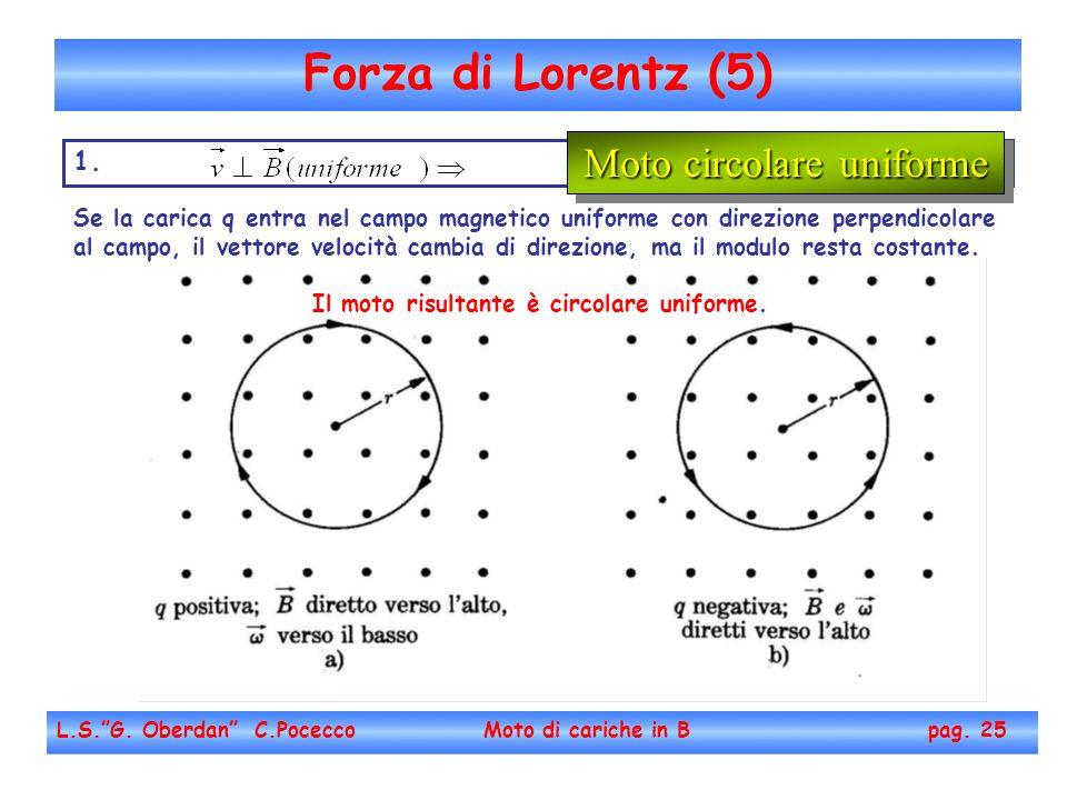 Forza di Lorentz (5) L.S.G. Oberdan C.Pocecco Moto di cariche in B pag. 25 1. Se la carica q entra nel campo magnetico uniforme con direzione perpendi