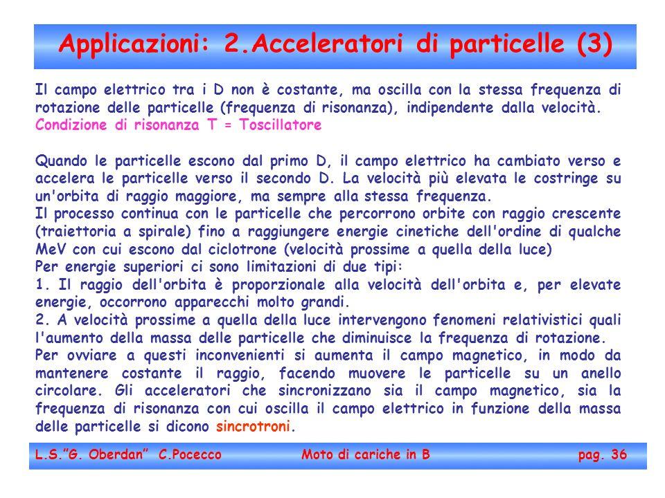 Applicazioni: 2.Acceleratori di particelle (3) L.S.G. Oberdan C.Pocecco Moto di cariche in B pag. 36 Il campo elettrico tra i D non è costante, ma osc