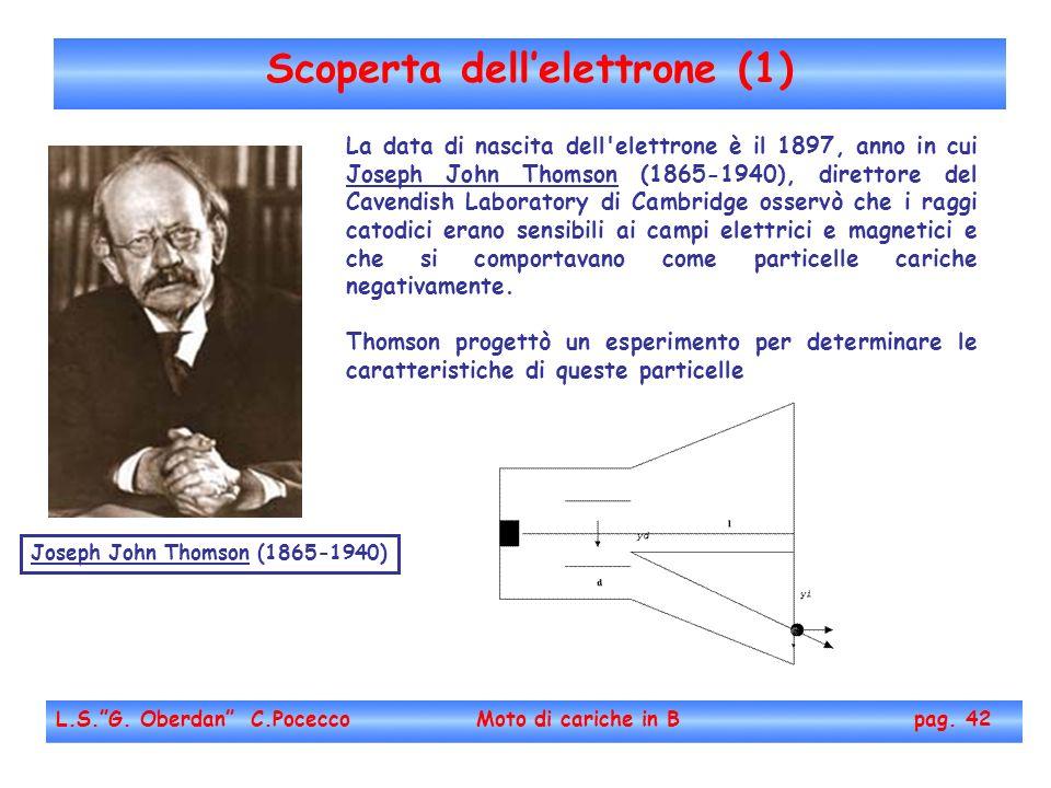 Scoperta dellelettrone (1) L.S.G. Oberdan C.Pocecco Moto di cariche in B pag. 42 La data di nascita dell'elettrone è il 1897, anno in cui Joseph John