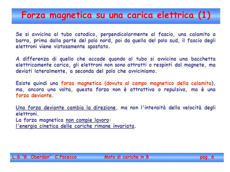 Forza magnetica su una carica elettrica (1) L.S.G. Oberdan C.Pocecco Moto di cariche in B pag. 6 Se si avvicina al tubo catodico, perpendicolarmente a
