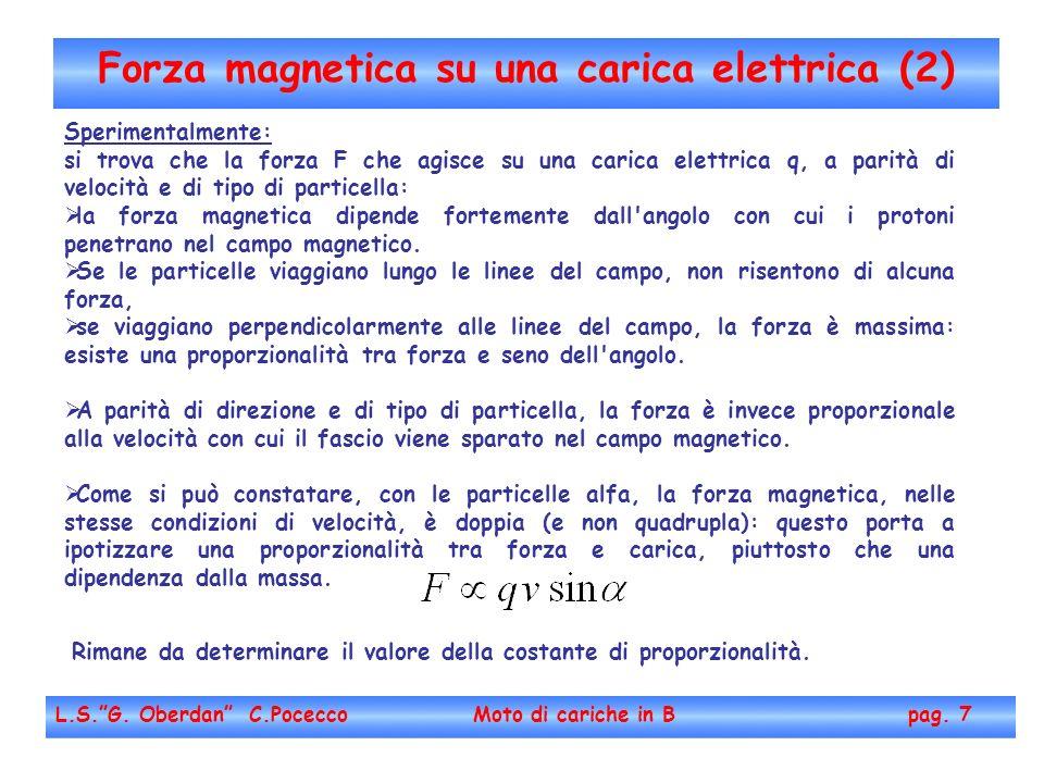 Forza magnetica su una carica elettrica (2) L.S.G. Oberdan C.Pocecco Moto di cariche in B pag. 7 Sperimentalmente: si trova che la forza F che agisce