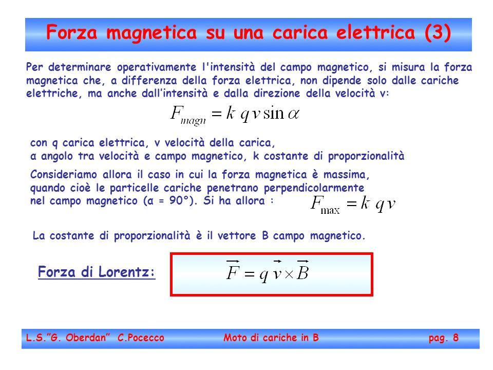 Forza magnetica su una carica elettrica (3) L.S.G. Oberdan C.Pocecco Moto di cariche in B pag. 8 Per determinare operativamente l'intensità del campo