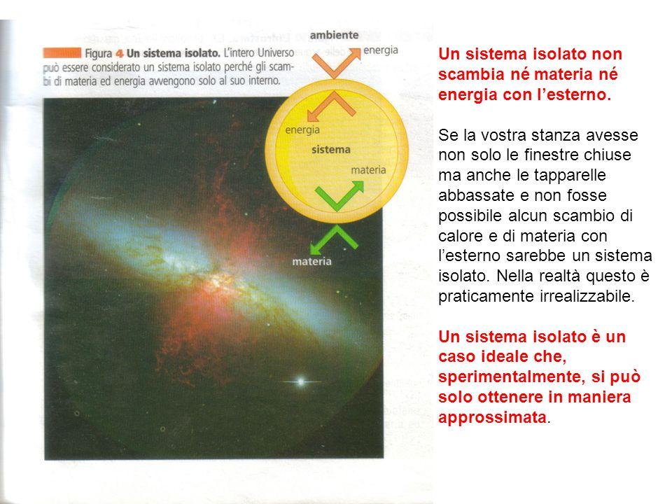 Un sistema isolato non scambia né materia né energia con lesterno.
