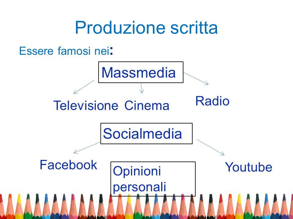 Produzione scritta Massmedia Socialmedia Opinioni personali TelevisioneCinema Radio Facebook Youtube Essere famosi nei :