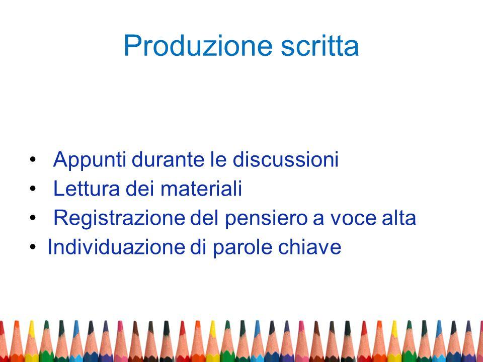 Produzione scritta Appunti durante le discussioni Lettura dei materiali Registrazione del pensiero a voce alta Individuazione di parole chiave
