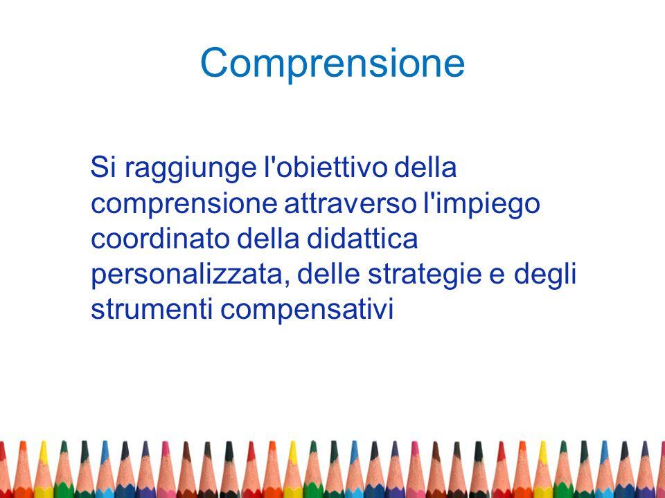 Comprensione Si raggiunge l'obiettivo della comprensione attraverso l'impiego coordinato della didattica personalizzata, delle strategie e degli strum
