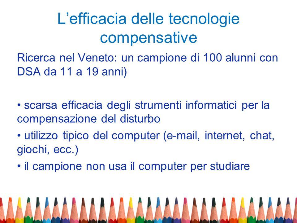 Lefficacia delle tecnologie compensative Ricerca nel Veneto: un campione di 100 alunni con DSA da 11 a 19 anni) scarsa efficacia degli strumenti infor
