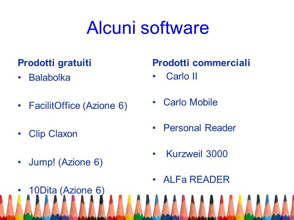 Alcuni software Prodotti gratuiti Balabolka FacilitOffice (Azione 6) Clip Claxon Jump! (Azione 6) 10Dita (Azione 6) Prodotti commerciali Carlo II Carl