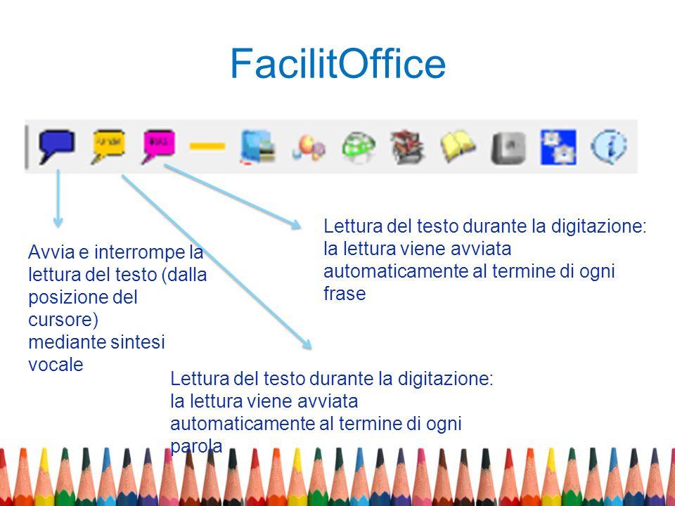 FacilitOffice Avvia e interrompe la lettura del testo (dalla posizione del cursore) mediante sintesi vocale Lettura del testo durante la digitazione: