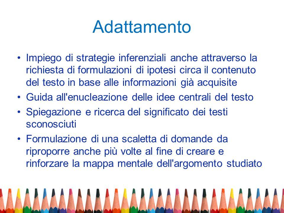 Adattamento Impiego di strategie inferenziali anche attraverso la richiesta di formulazioni di ipotesi circa il contenuto del testo in base alle infor