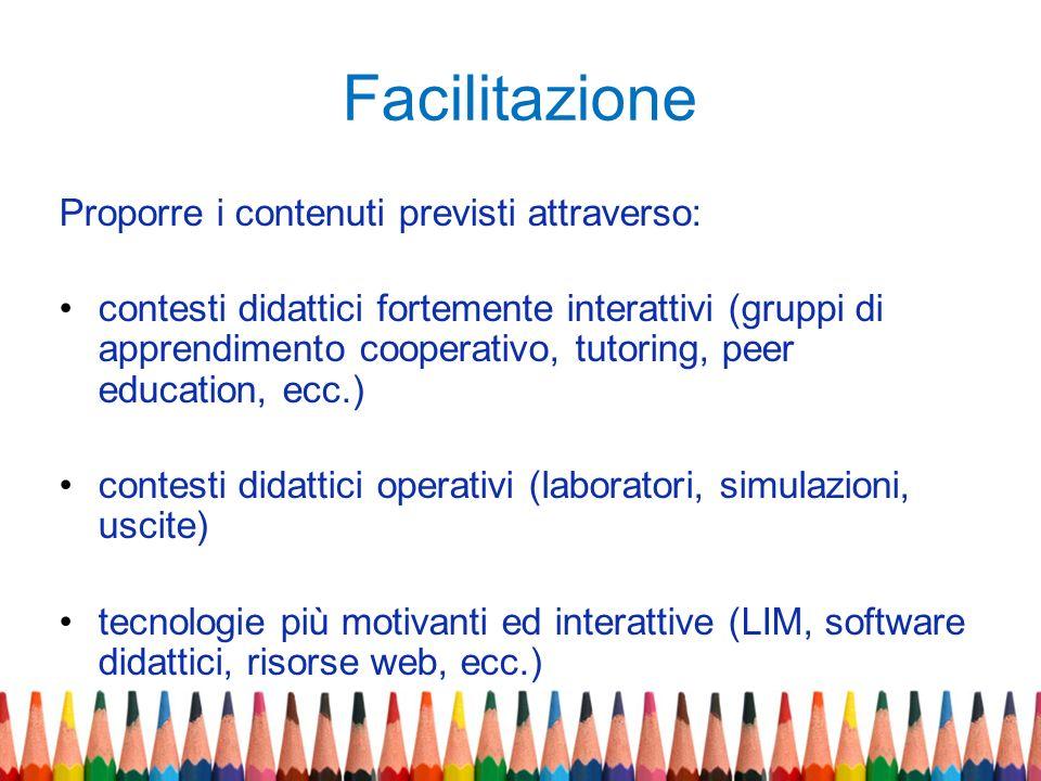 Facilitazione Proporre i contenuti previsti attraverso: contesti didattici fortemente interattivi (gruppi di apprendimento cooperativo, tutoring, peer